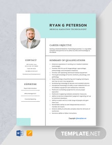 Free Medical Radiation Technologist Resume Template