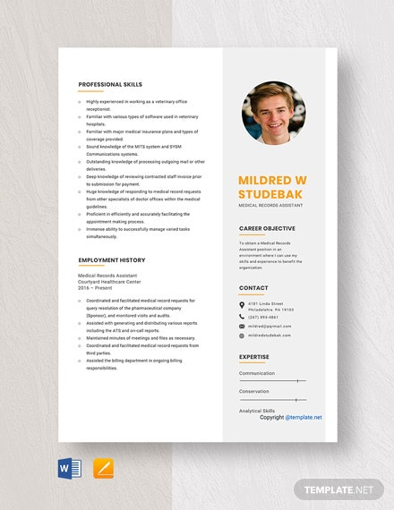 Free Medical Records Assistant Resume Template
