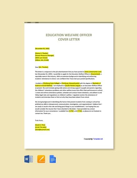 Education Welfare Officer Cover Letter