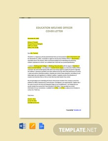 Free Education Welfare Officer Cover Letter Template