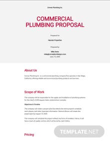 Commercial Plumbing Proposal Template