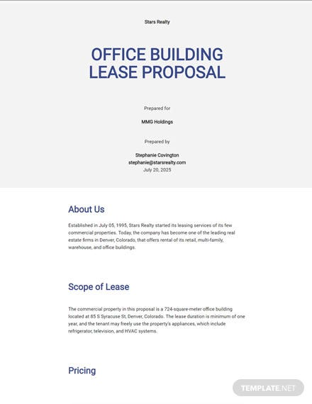 Editable Commercial Property Proposal Template