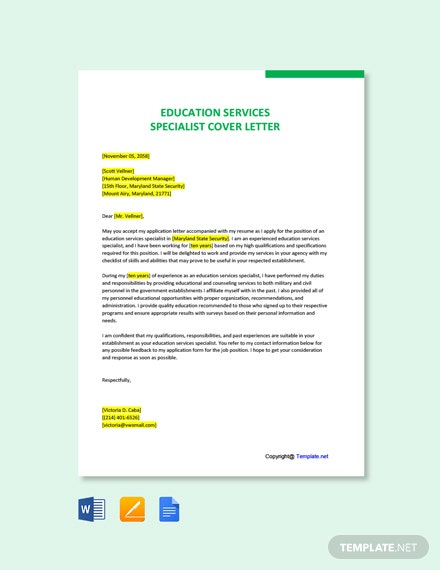Free Education Services Specialist Cover Letter Template
