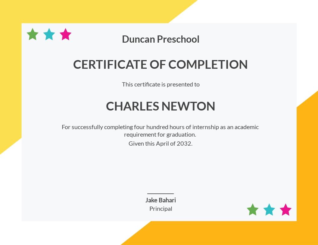 Free Preschool Internship Certificate Template
