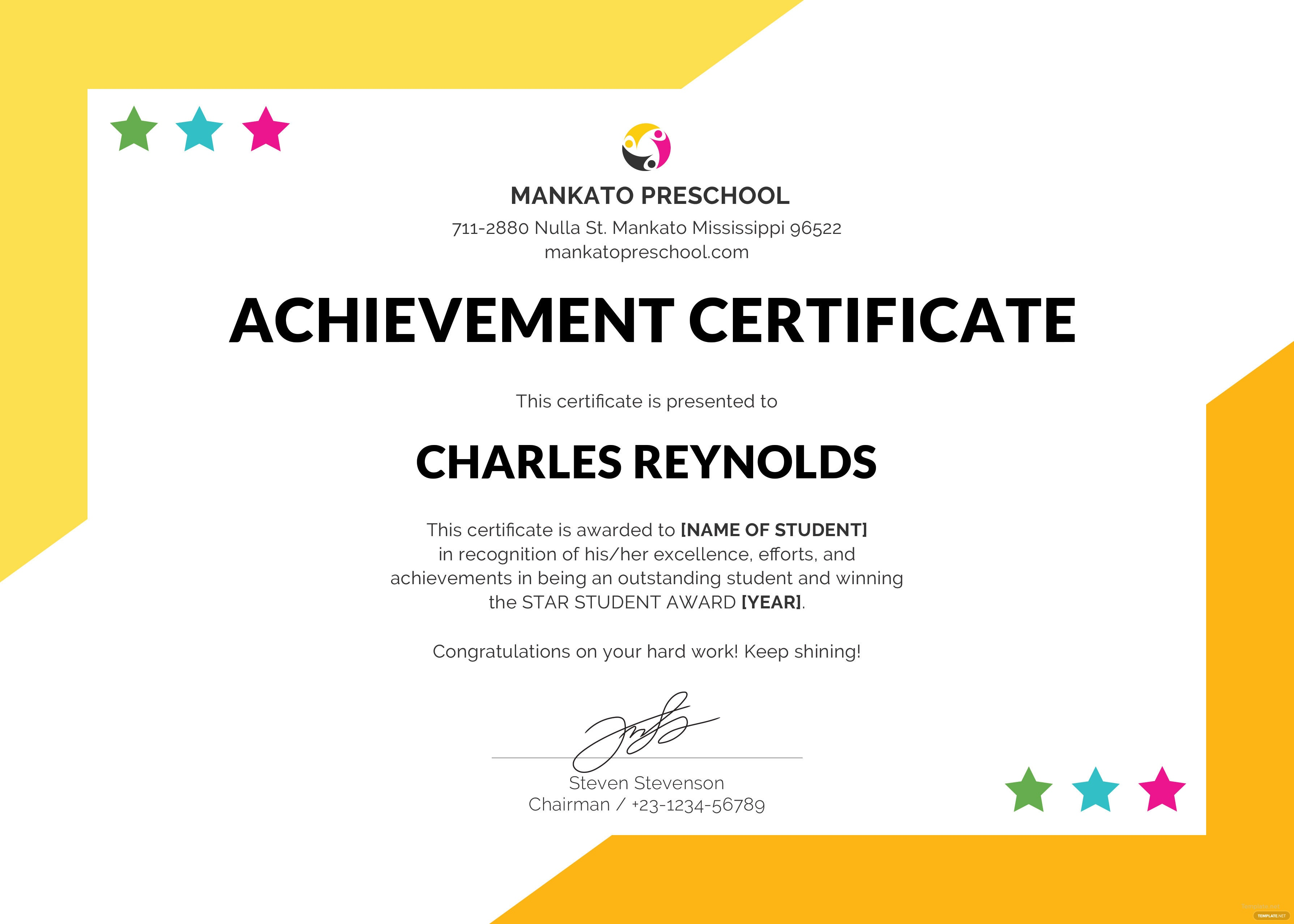 Free preschool internship certificate template in psd ms word preschool internship certificate template yelopaper Images