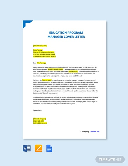 Free Education Program Manager Cover Letter Template