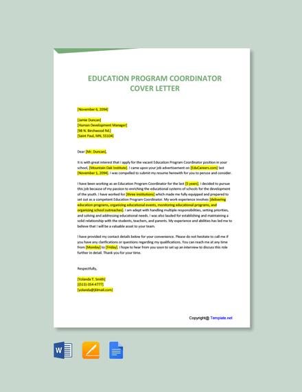 Free Education Program Coordinator Cover Letter Template