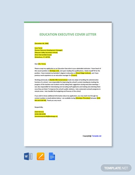 Free Education Executive Cover Letter Template