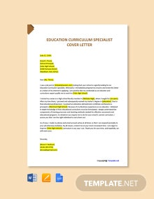 Free Education Curriculum Specialist Cover Letter Template