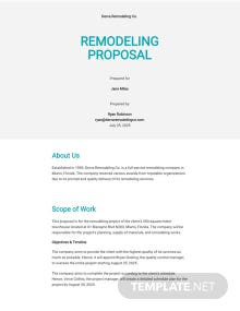 Remodeling Proposal Template