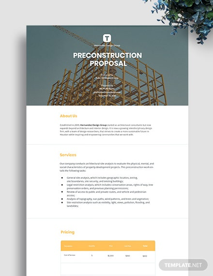 Preconstruction Proposal Template