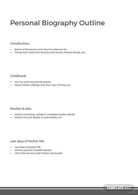 Personal Biography Outline Template