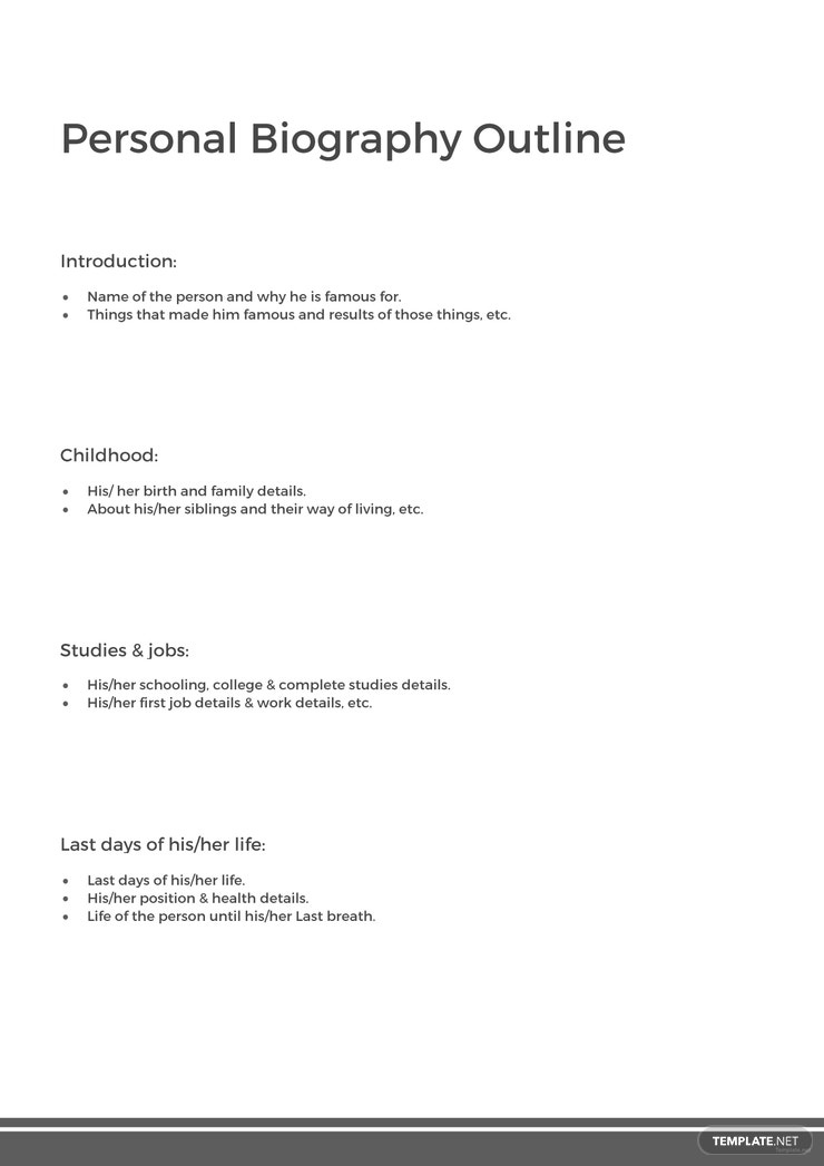 Free Personal Biography Outline Template