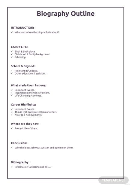 Professional Biography Outline Template