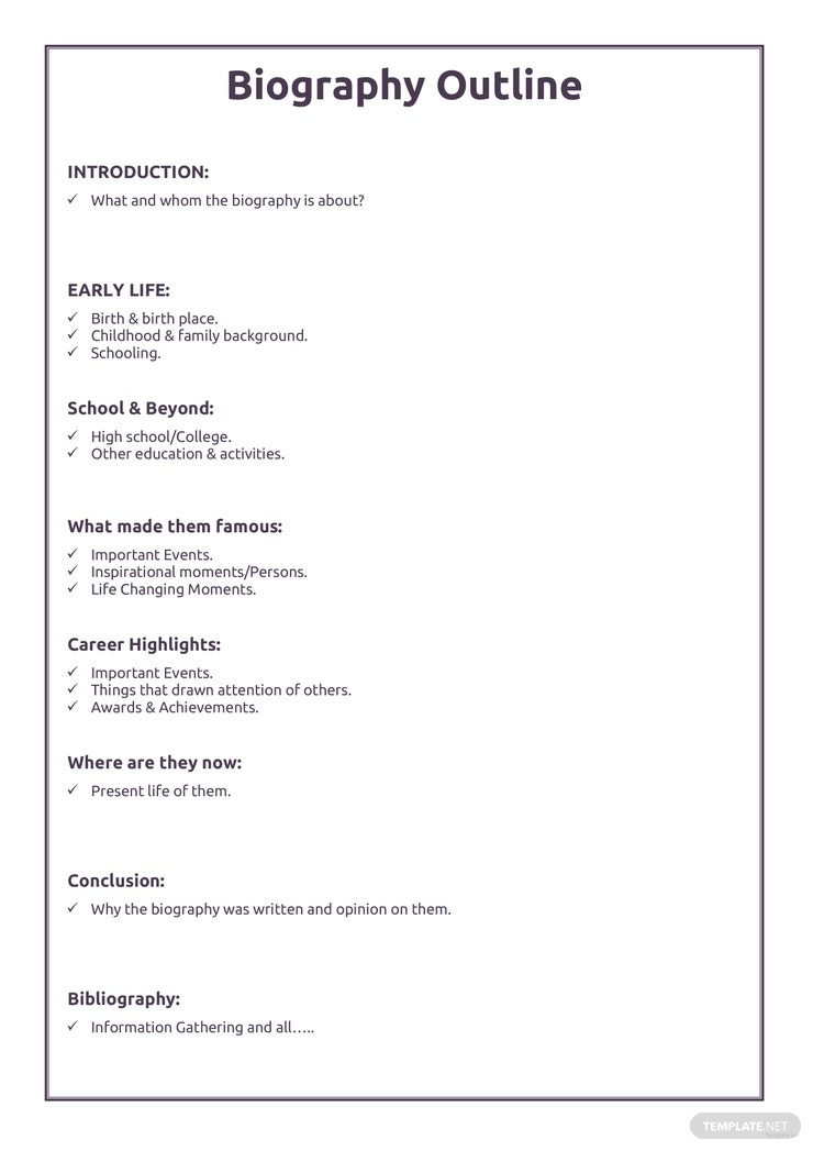 Free Professional Biography Outline Template