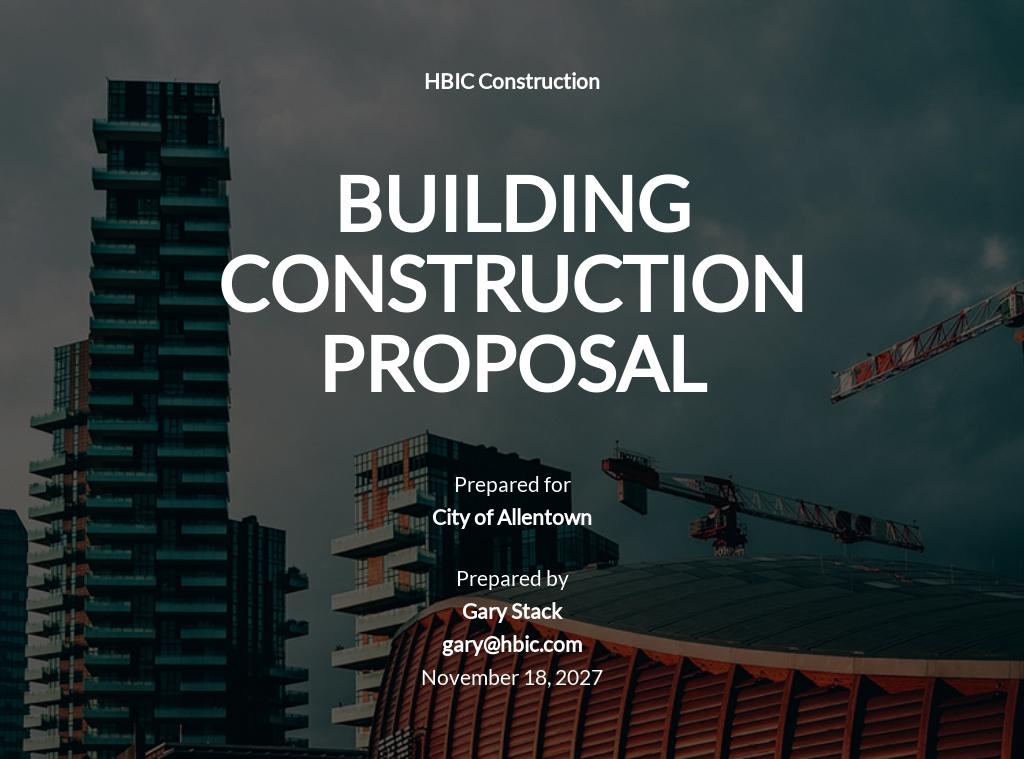 Building Construction Proposal Template