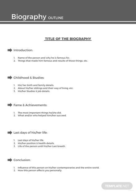 Sample Biography Outline Template