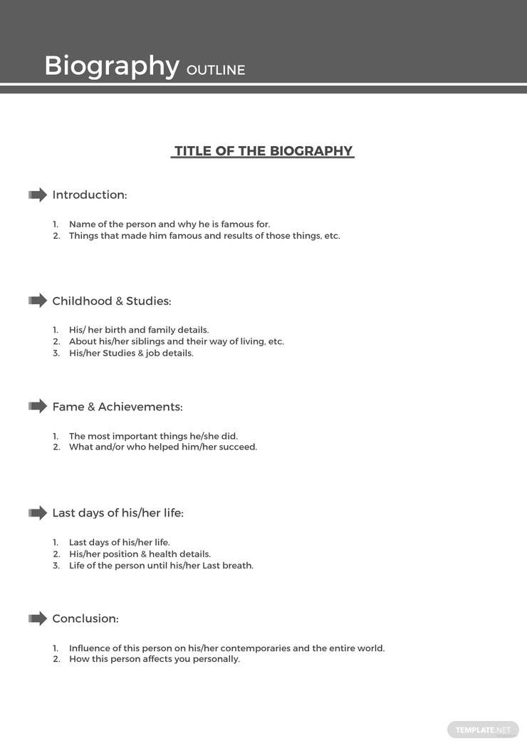 Free Sample Biography Outline Template