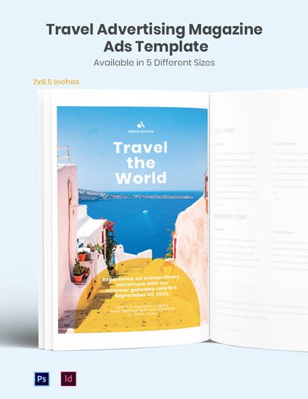 Travel Advertising Magazine Ads Template