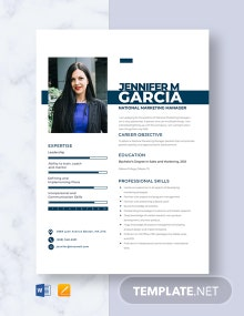 National Marketing Manager Resume Template