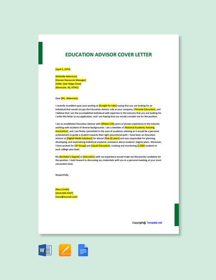 Free Education Advisor Cover Letter Template