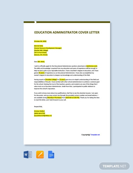 Free Education Administrator Cover Letter Template