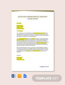 Free Education Administrative Assistant Cover Letter Template
