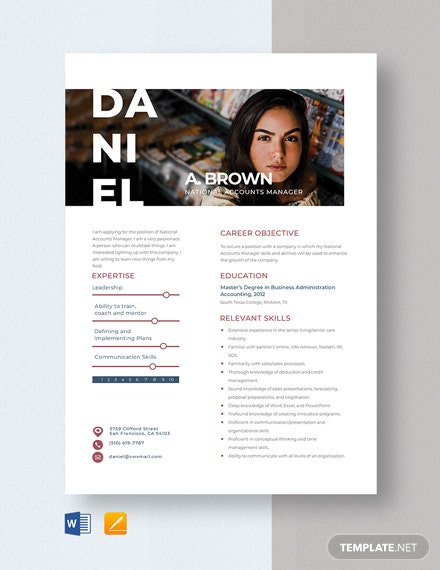 National Accounts Manager Resume Template