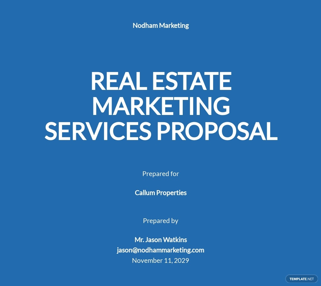 Real Estate Marketing Proposal Template