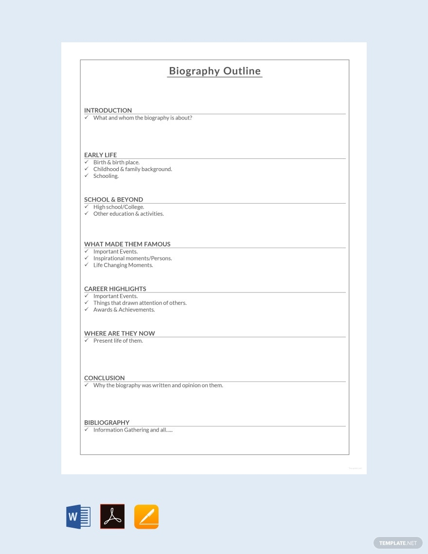 Free Short Biography Outline Template
