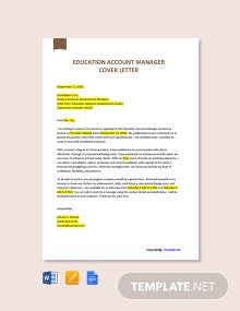 Free Education Account Manager Cover Letter Template
