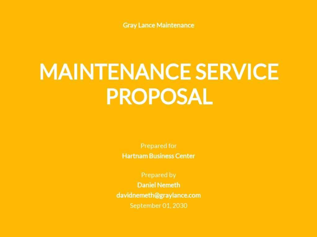 Maintenance Services Proposal Template