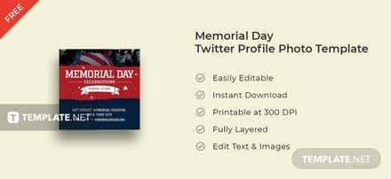 Memorial Day Twitter Profile Photo Template