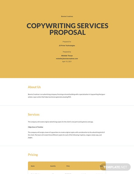 Copywriting Services Proposal Template