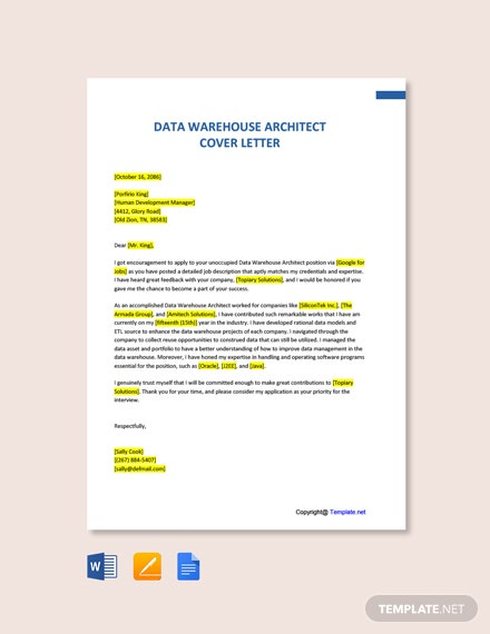 Free Data Warehouse Architect Cover Letter Template