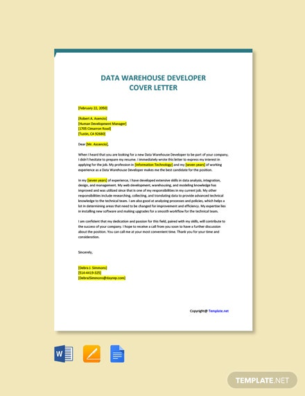 Free Data Warehouse Developer Cover Letter Template