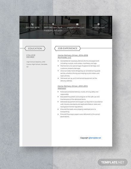 Home Delivery Driver Resume Template