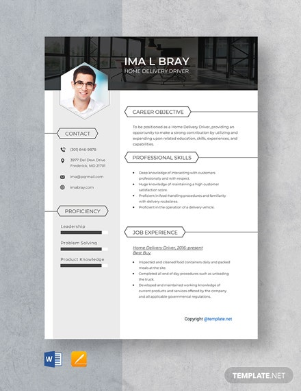 Free Home Delivery Driver Resume Template