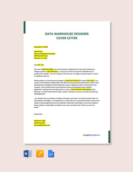 Free Data Warehouse Designer Cover Letter Template
