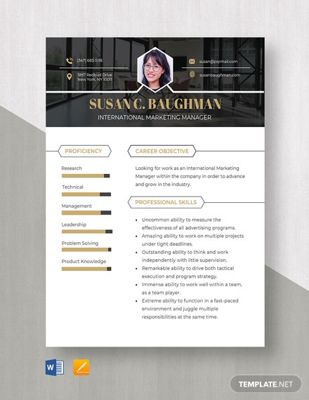 International Marketing Manager Resume Template