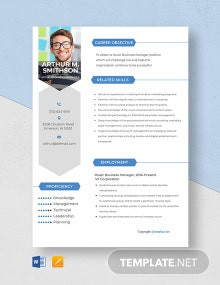 Music Business Manager Resume Template