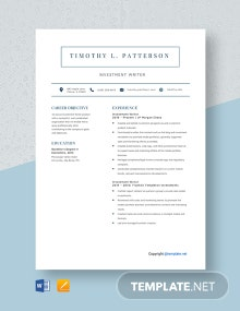 Free Investment Writer Resume Template