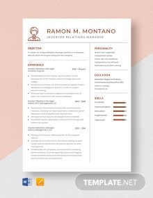 Investor Relations Manager Resume Template