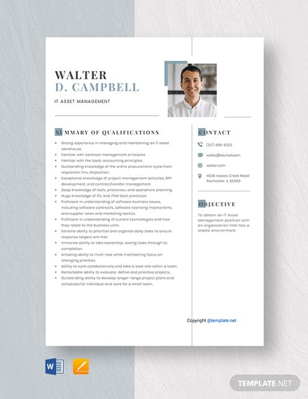 Free IT Asset Management Resume Template