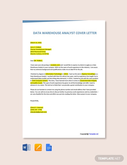 Free Data Warehouse Analyst Cover Letter Template
