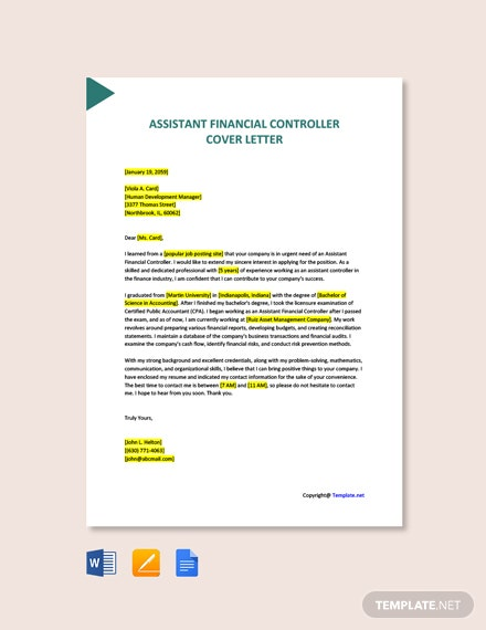 Free Assistant Financial Controller Cover Letter Template
