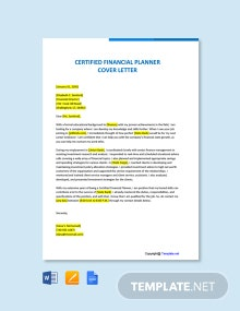 Free Certified Financial Planner Cover Letter Template