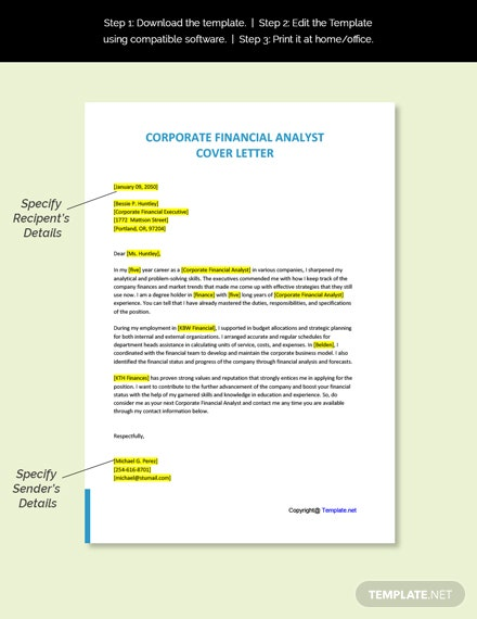 Corporate Financial Analyst Cover Letter Template