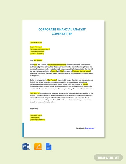 Free Corporate Financial Analyst Cover Letter Template