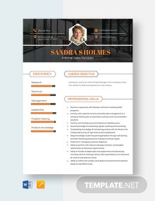 Internal Sales Manager Resume Template